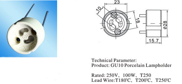 GU10 lamp holders diagram