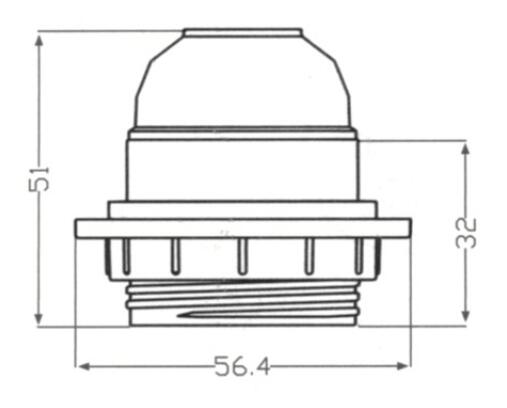 Bakelite E26 lamp base half thread and lock screw drawing diagram