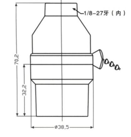 Bakelite E26 light base smooth skirt and lock screw diagram
