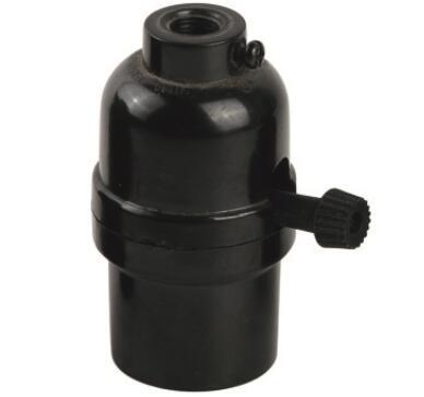 Bakelite E26 light bulb sockets smooth skirt with switch