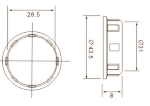 E14 lamp base Irregular Skirt with outer ring diagram