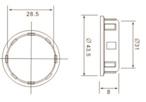 E14 lamp base Irregular Skirt with outer ring diagram