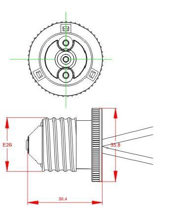E26 Bakelite lamp socket technical drawing