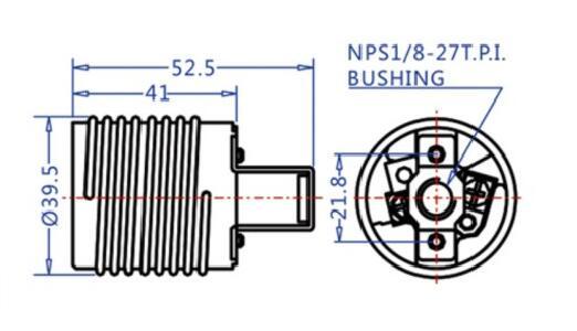 E26 ceramic Medium ES light bulb socket with rivet bracket technical drawing