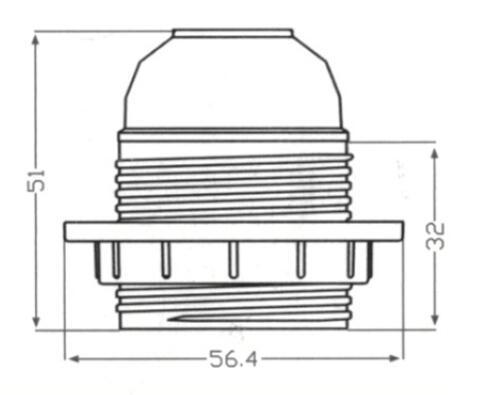E26 lamp socket half thread and lock screw