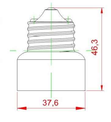 E26 to E11 ceramic lamp holder adapter for led lamps technical drawing