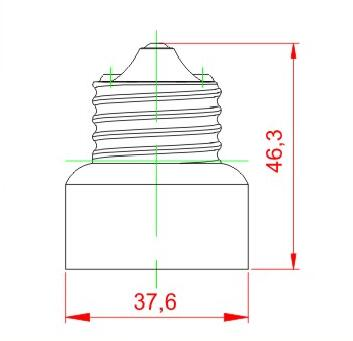 E26 to E11 light bulb socket adapter drawing