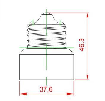 E26 to E11 light bulb socket adapter drawing