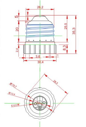E26 to E12 Plastic lamp holder adapter technical drawing