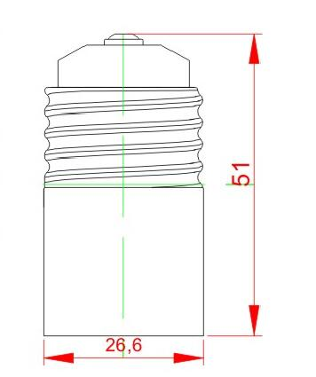 E26 to E17 Ceramic lamp holder adapter technical diagram