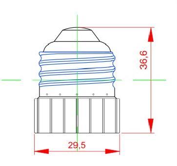 E26 to E17 light bulb socket adapter drawing