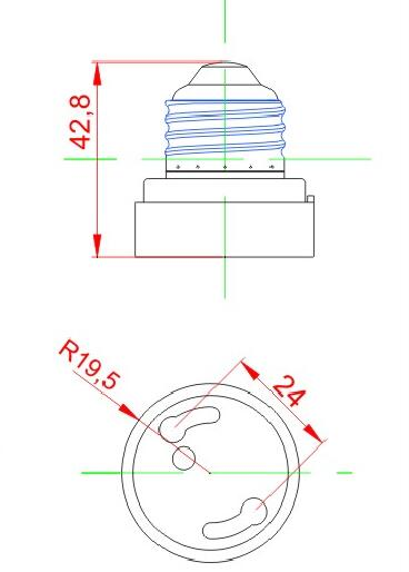 E26 to E24 Plastic lamp holder adapter technical drawing