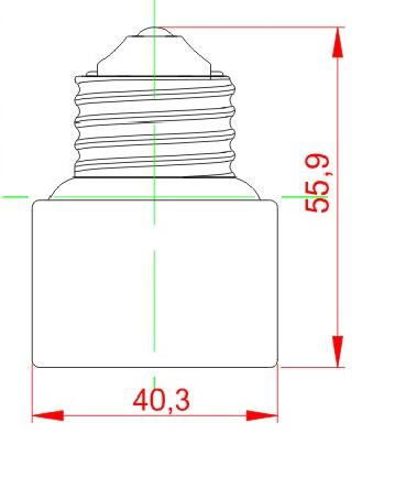 E26 to E26 Ceramic lamp holder adapter technical drawing