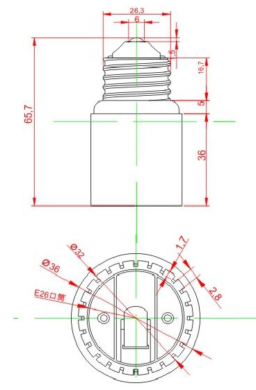 E26 to E26 Plastic lamp holder adapter technical drawing