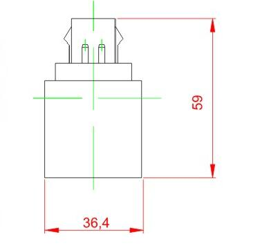 GU23 to E26 plastic lamp holder adapter technical drawing