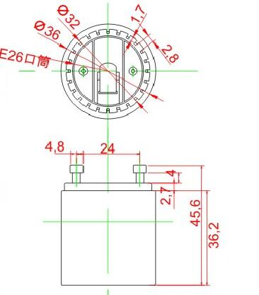 GU24 to E26 plastic lamp holder adapter technical drawing