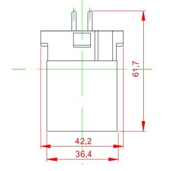 GX10Q to E26 plastic lamp holder adapter technical drawing