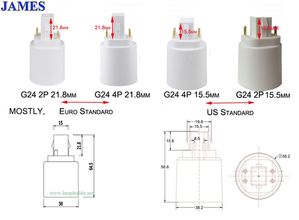 Gx24 to E26 & E27 adapter 4 pin cfl to led conversion