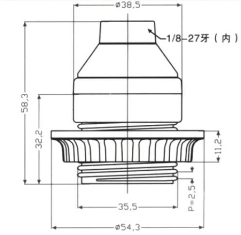Phenolic E26 lampholder half thread and lock screw drawing