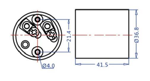 Porcelain E26 medium lamp socket techincal drawing