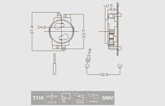 Push in t8 socket for led tubes