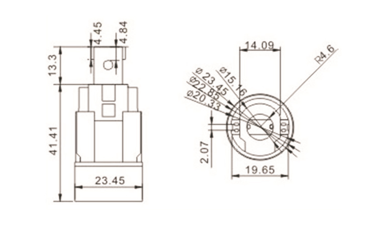 drawing of Push in terminal E14 bulb socket with bracket