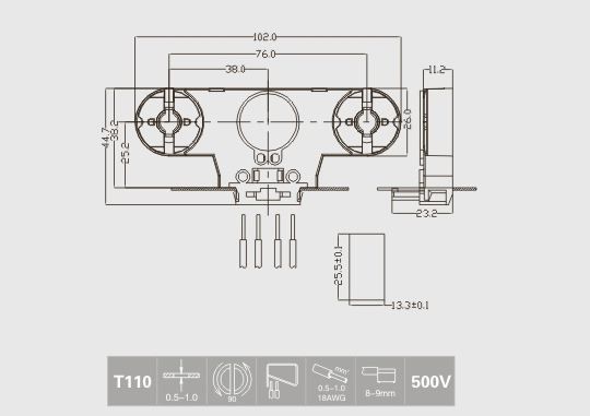 fluorescent lamp sockets technical drawing