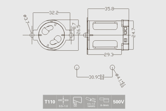 fluorescent starter holder technical drawing