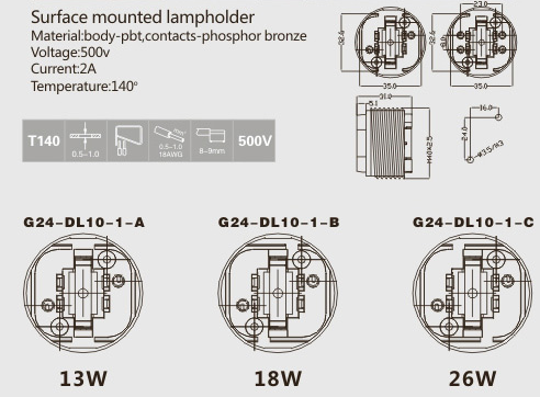g24 lamp holder technical drawing