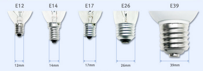 light bulb socket size