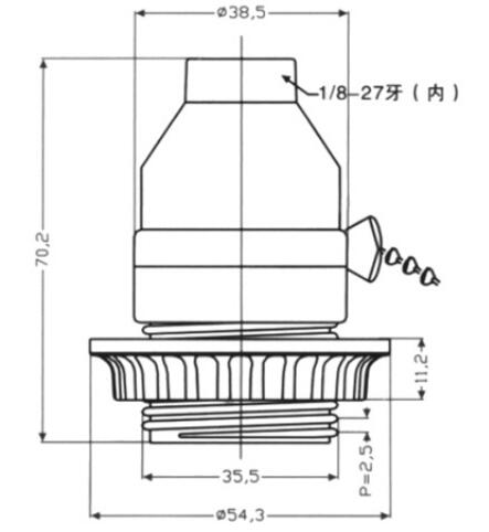 medium screw E26 half thread and lock screw diagram