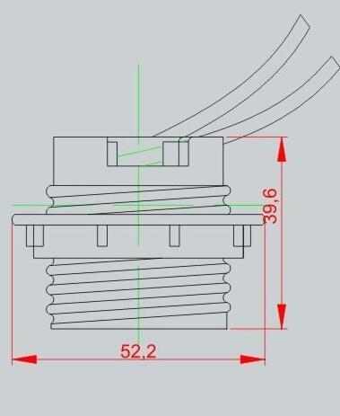 porcelain E26 medium lamp socket technical drawing