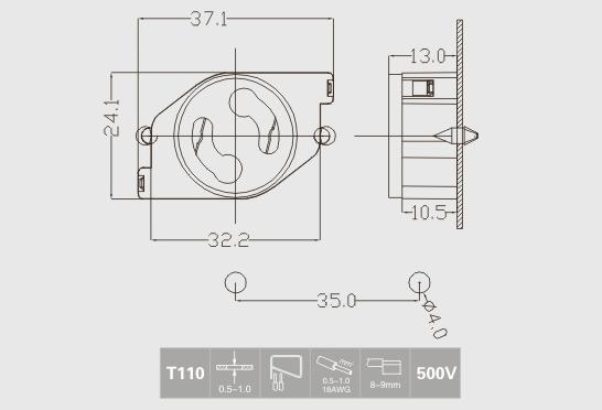 push in starter t8 lamp socket