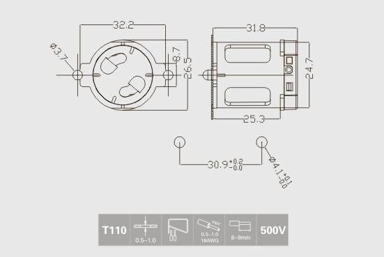 starter holder fluorescent lamp technical drawing