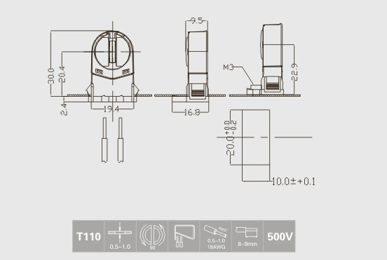 t5 fluorescent light sockets technical drawing