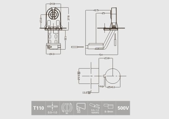 t8 fluorescent lampholder