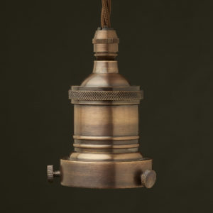Antiqued 2.25 inch Cast Gallery brass bulb holder