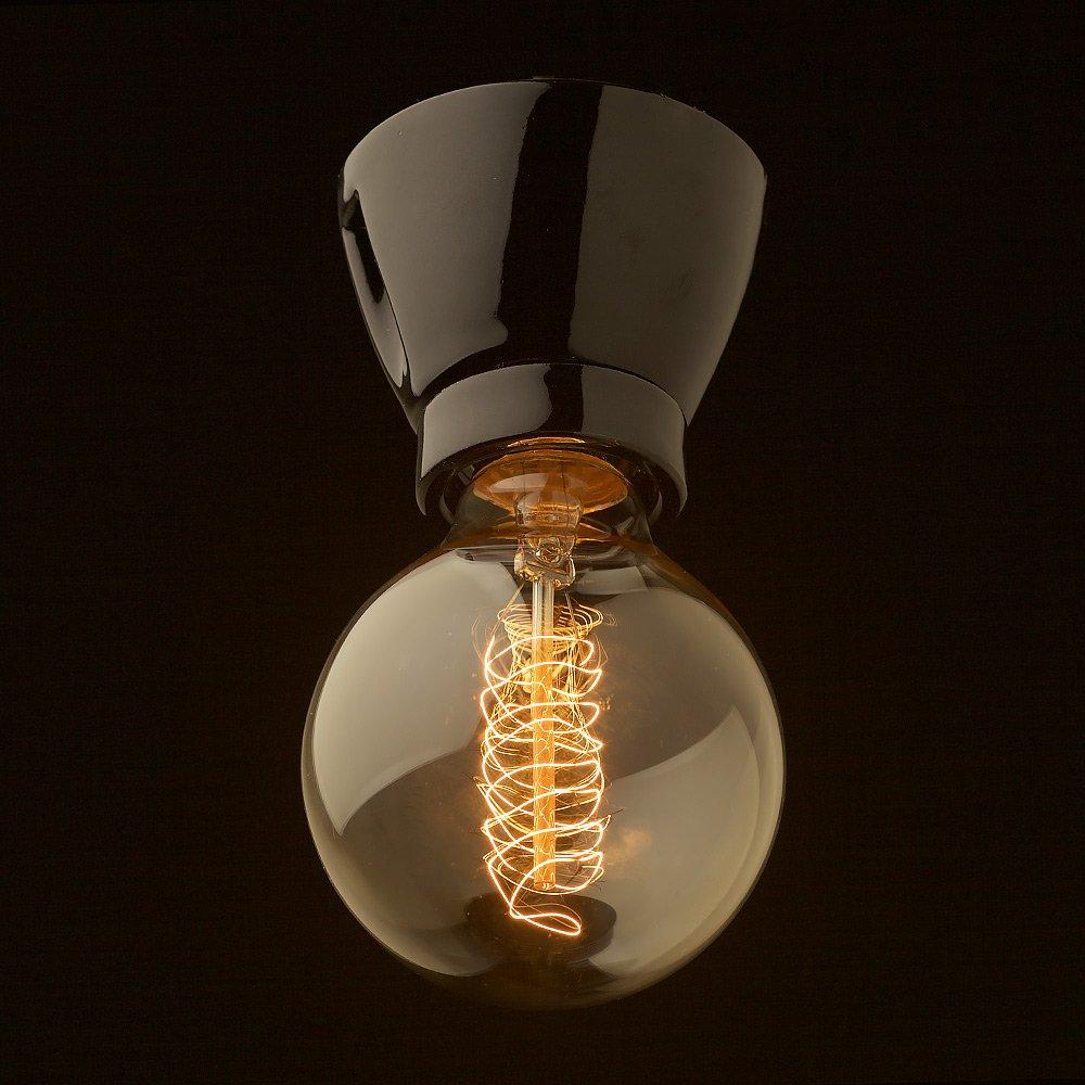 Black Porcelain Batten Holder Edison E27 Lamp Holders