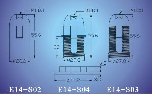 E14-S02-S03-S04 push in terminal bakelite lamp socket diagram