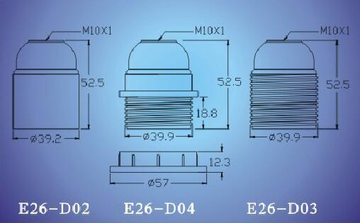 E26-D02,E26-D04, E26-D03 lamp holder technical diagram