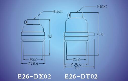 E26-DX02 E26-DT02 light bulb sockets dimension size