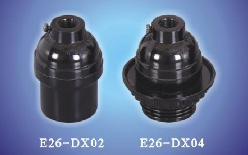 E26-DX02, E26-DX04 black plastic bakelite lamp holders