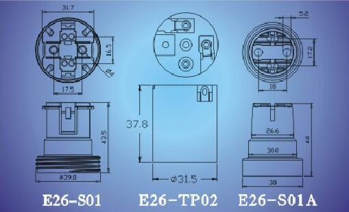 E26-S01,E26-TP02,E26-S01A light bulb sockets technical diagram