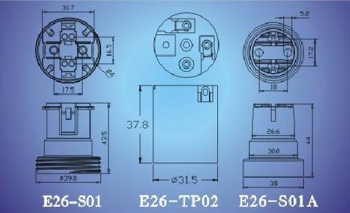 E26-S01,E26-TP02,E26-S01A light bulb sockets technical diagram