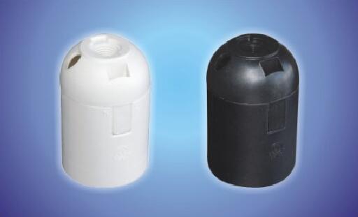E26-S02 push in Phenolic lamp holder black