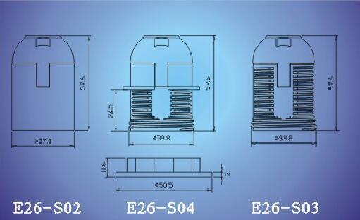 E26-S02,E26-S04,E26-S03 bakelite lamp holder technical diagram