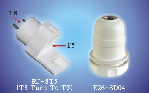 JMS-8T5, E26-SD04 J (T8 Turn To T5) Lamp holders