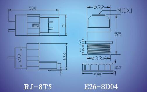 JMS-8T5, E26-SD04 lamp holders technical Diagram