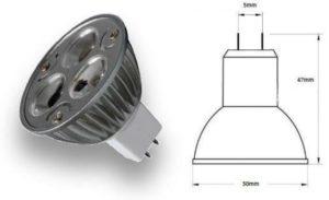 MR16 lamp holder for bulb diagram