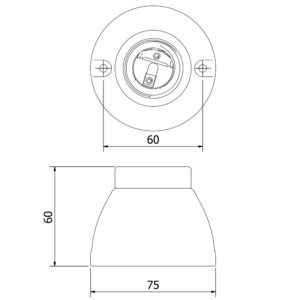 Porcelain Batten e27 lamp holders technical diagram